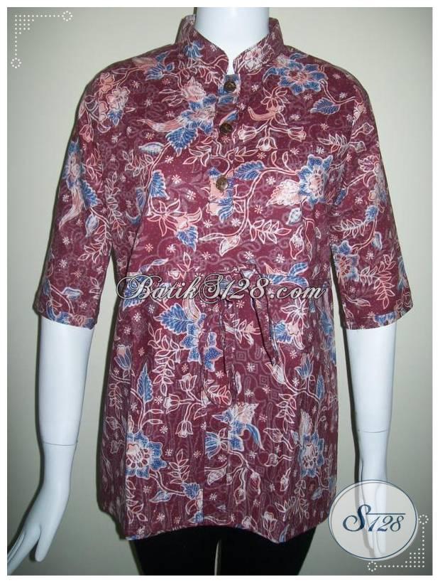 Blus Batik Wanita Kerja Kantor,Batik Asli Pengrajin Di Jawa [BLS242P-M]