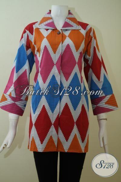Blus Batik Trend Terbaru Dengan Kombinasi Warna Cantik Dan Motif Rangrang Yang Keren, Bisa Untuk Kerja Dan Pesta [BLS2430P-XL]