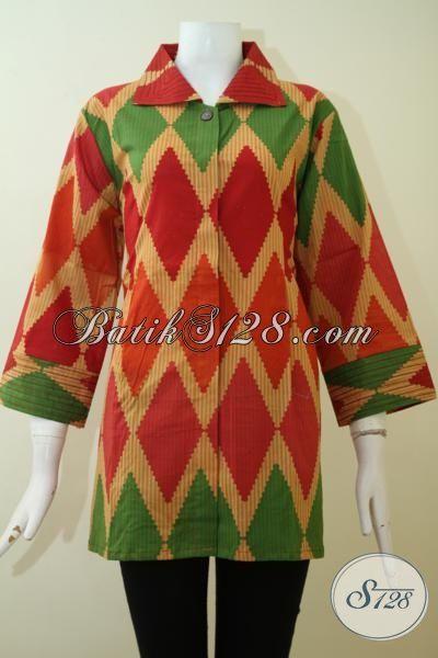 Busana Batik Blus Print Buatan Solo Kwalitas Halus Adem Harga Murmer, Baju Batik Size Jumbo Untuk Wanita Gemuk [BLS2433P-XXL]