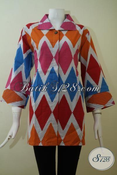 Jual Aneka Pakaian Batik Trendy Ukuran Jumbo, Blus Batik Super Besar Proses Print Kwalitas Halus Wanita Gemuk Tetap Tampil Cantik Dan Modis [BLS2434P-XXL]