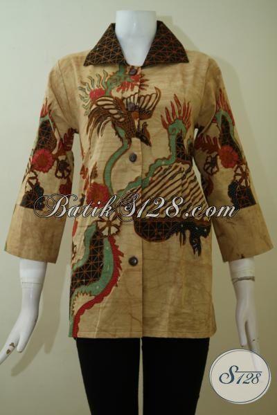 Baju Batik Tulis Bledak Motif Klasik Modern, Blus Batik seragam Kerja Wanita Karir Untuk Tampil Elegan Dan Rapi [BLS2435TD-M]