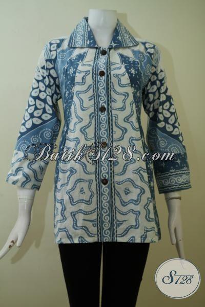 Jual Blus Batik Tulis Kwalitas Premium, Batik Formal Seragam Kerja Dengan Pewarna Alam Yang Ramah Lingkungan [BLS2441TA-L]