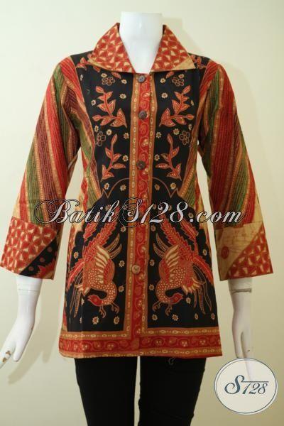 Busana Batik Klasik Mewah Model Trend Masa Kini Proses Kombinasi Tulis, Blus Batik Seragam Kerja Wanita Karir Sejati [BLS2443BT-L]