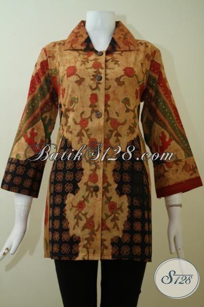 Toko Tempat Upgrade Fashion Batik Terlengkap, Sedia Blus Batik Klasik Khas Solo Bagus Untuk Dan Mewah Untuk Pesta Formal [BLS2446BT-XL]