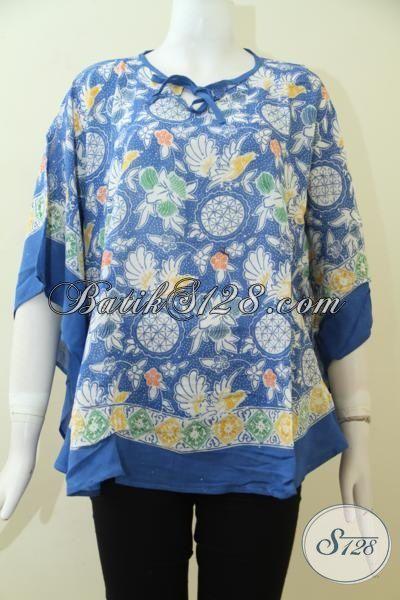 Blus Batik Keren Wanita Dewasa Warna Biru, Batik Solo Cap Bahan Paris Adem Dan Lembut [BLS2470CR-ALL Size]