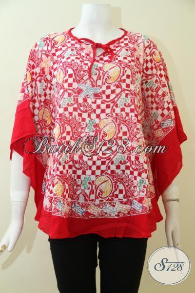 Baju Batik Kelelawar Untuk Wanita Muda Dan Dewasa, Busana Bati Blus Merah Motif Keren Bahan Paris Halus [BLS2471CR-ALL Size]