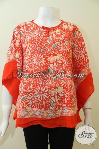 Baju Batik Orange Motif Keren Dan Bagus, Blus Batik Kelelawar Tampil Modis, Cocok Untuk Pesta Dan Hangout, Size ALL Size