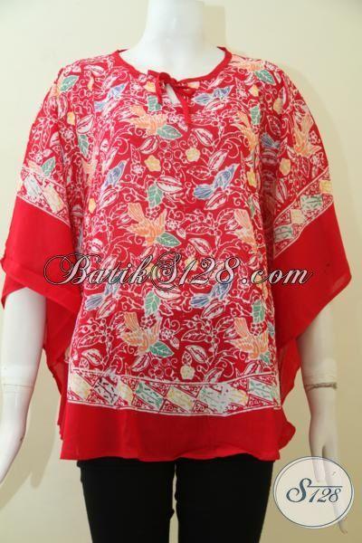 Pedagang Baju Batik Solo Online, Jual Blus Batik Kelelawar Motif Terbaru Berpadu Warna Merah Keren Yang Pas Buat Santai Dan Hangouts [BLS2474CR-All Size]