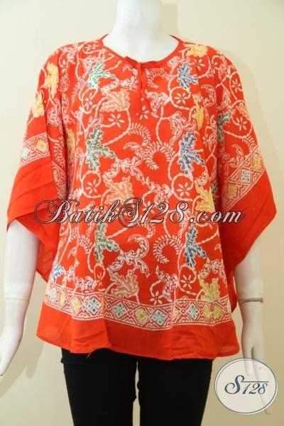Tempat Belanja Batik Online Paling Lengkap, Sedia Blus Batik Cap Bahan Paris Model Kelelawar, Cocok Untuk Kerja Dan Santai [BLS2477CR-All Size]