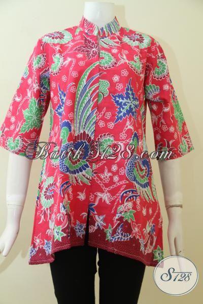 Toko Baju Batik Online, Jual Blus Batik Merah Desain Berkelas, Batik Jawa Motif Terkini Proses Print Harga Murmer, Size S