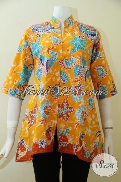 Baju Batik Kuning Motif Modern Klasik Dengan Desain Mewah Terkini, Baju Batik Print Halus Harga Murah Meriah Pas Buat Kerja [BLS2479P-S]