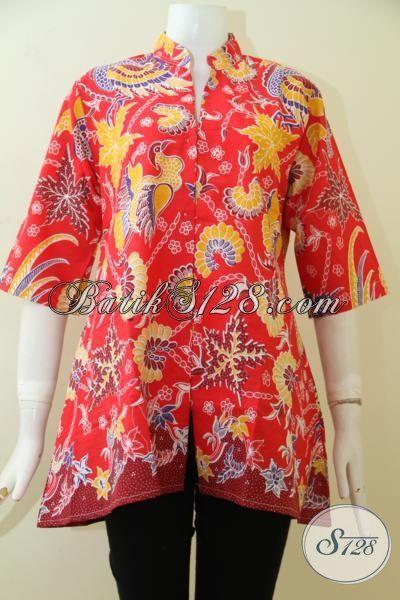 Sedia Batik Blus Solo Desain Mewah Harga Bawah, Batik Baju Kerja Modern Motif Keren Warna Merah Membuat Penampilan Lebih Meriah, Size M