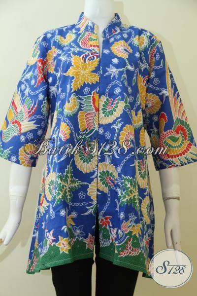 Baju Batik Proses Print Warna Biru Hadir Dengan Desain Keren Terkini, Baju Batik Wanita Muda Tampil Beda Dan Keren [BLS2481P-XL]