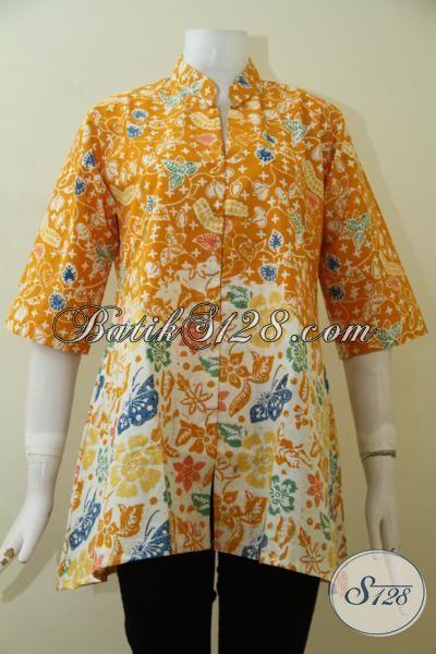 Blus Batik Wanita Seragam Kerja Tampil Cantik Berkelas, Baju Batik Cap Warna Kuning Motif Unik Dan Modern Harga Terjangkau [BLS2484C-M]