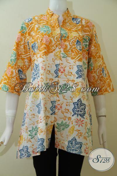 Trend Pakaian Batik Wanita Muda Terkini, Blus Batik Halus Produk Solo Motif Keren Tampil Elegant [BLS2486C-L]