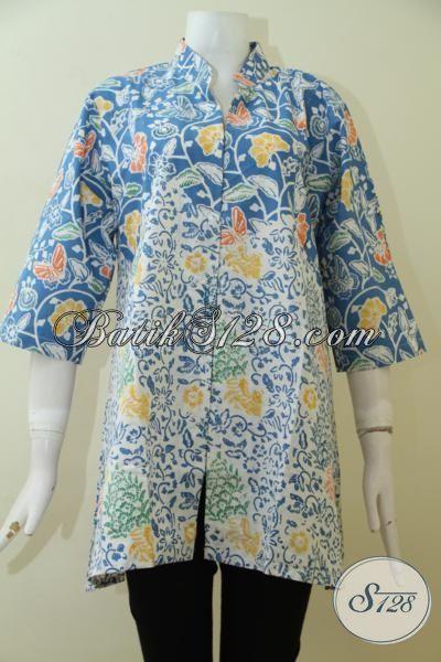 Blus Batik Ukuran Besar Motif Modern Dengan Warna Biru Yang Keren, Batik Kerja Dan Pesta Wanita Dewasa Tampil Lebih Elegant [BLS2487C-XL]