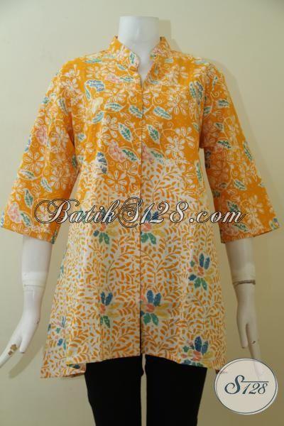 Jual Batik Blus Kuning Motif Terbaru, Blus Batik Paling Laris, Batik Kerja Desin Modern Wanita Dewasa Tampil Bergaya, Size XL