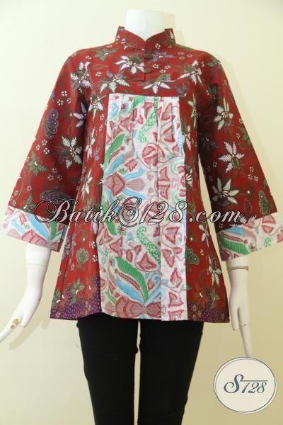 Blus Batik Kombinasi Model Terbaru Produk Dari Solo, Batik Print Motif Modern Pas Buat Seragam Kantor Dan Untuk Pesta [BLS2489P-XL]