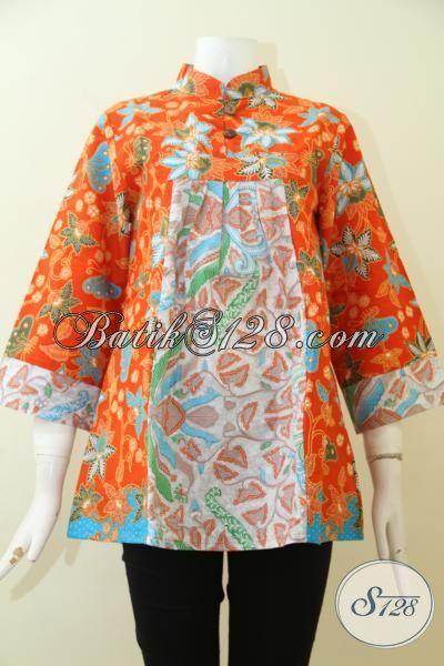 Juragan Batik Solo Jual Blus Batik Dua Motif Trend Terkini, Pakaian Batik Berkelas Warna Cerah Membuat Cewek Lebih Terlihat Segar, Size M
