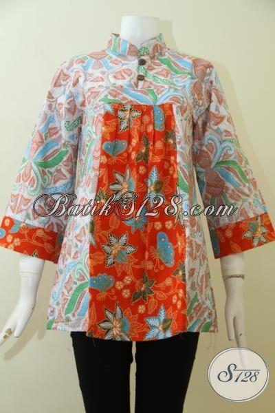 Trend Batik Wanita 2015, Blus Batik Dua Warna Modern Berpadu Motif Mewah Nan Elegan Cocok Untuk Kerja Dan Hangouts, Size M