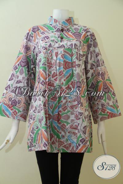 Pakaian Batik Blus Exclusive Bagi Perempuan Berbadan Gemuk, Baju Batik Trendy Proses Print Ukuran Jumbo Untuk Tetap Tampil Elegant Dan Berkharisma [BLS2494P-XXL]