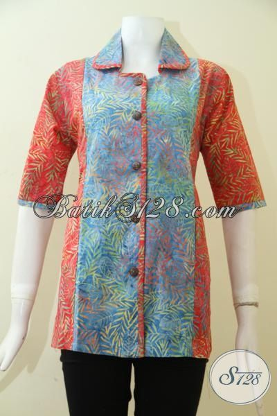 Blus Batik Formal Dua Motif, Busana Batik Berkelas Desain Mewah Untuk Seragam Kerja Warna Berkelas, Size L – XL]