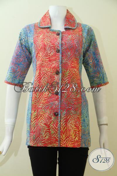 Online Shop Batik Jawa Terlengkap Sedia Baju Batik Cewek Model Terbaru Dan Paling Keren, Blus Batik Cap Smoke Mewah Yang Pas Buat Kerja Dan Trendy Untuk Hangouts [BLS2497CS-XL]