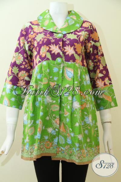Batik Blus Print Warna Hijau Kombinasi Ungu, Busana Batik Model Bagus Berbahan Halus Perempuan Lebih Terlihat Feminim Dan Trendy, Size S