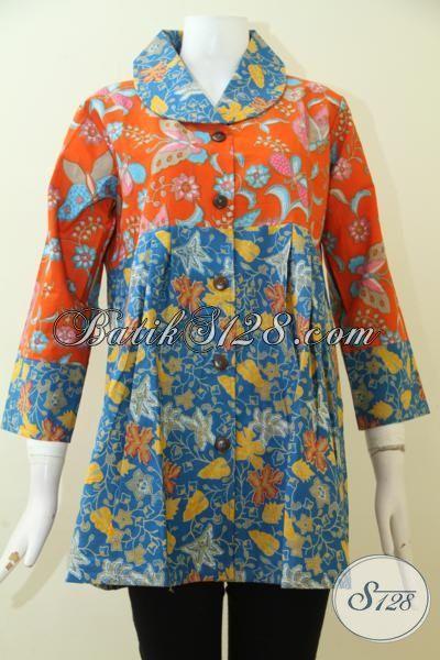 Batik Blus Model Paling Baru Dengan Kombinasi Warna Orange Dan Biru, Batik Print Halus Murah Meriah [BLS2503-L]