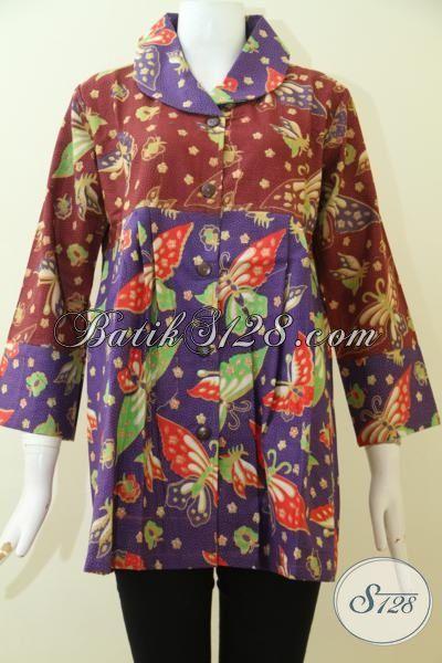 Pakaian Batik Modern Model Paling Baru Asli Buatan Solo, Blus Batik Printing Motif Terkini Desain Mewah Perempuan Tampil Elegan, Size XL