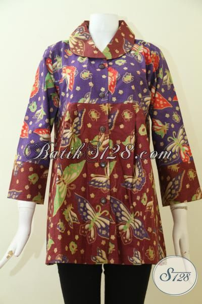 Jual Pakaian Batik Paling Di Cari Wanita Karir, Blus Batik Print Motif Dan Model Keren Kwalitas Bagus Harga Murah [BLS2508P-XL]