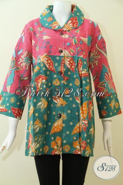Batik Baju Blus Warna Pink Kombinasi Hijau Motif Terbaru, Busana Batik Pesta Wanita Muda Karir Aktif [BLS2509P-XL]