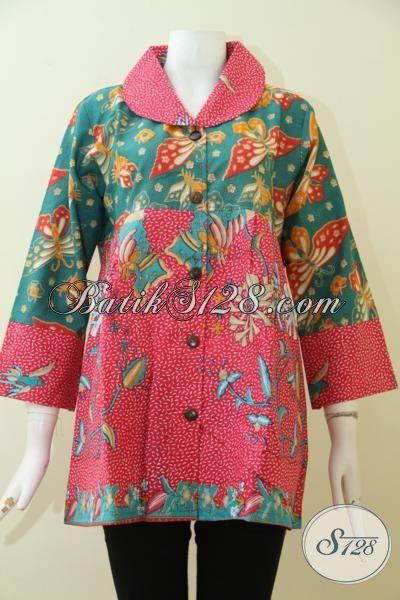 Baju Batik Print Motif Bagus Bahan Halus Dan Adem, Pakaian Batik Blus Cocok Untuk Ke Kantor Dan Pesta [BLS2510P-XL]