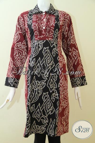 Blus Batik Motif Unik Proses Print, Pakaian Kerja Batik Warna Merah Kombinasi Hitam Wanita Tampil Elegan Setiap Hari [BLS2511P-L]