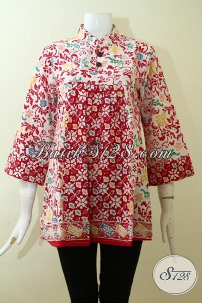 Baju Batik Cantik Penunjang Penampilan Wanita Karir, Blus Batik Modern Dan Berkelas Berbahan Halus Proses Cap, Batik Solo Bagus Harga Lebih Terjangkau, Size S