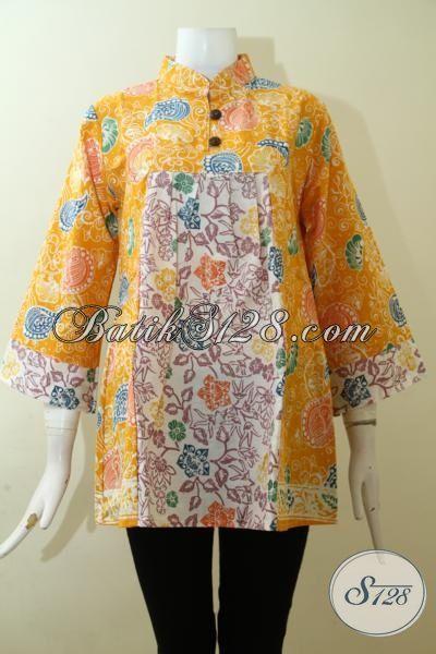Blus Batik Warna Kuning Kwalitas Halus Dan Adem, Pakaian Batik Kerja Untuk Wanita Paling Keren [BLS2532C-M]