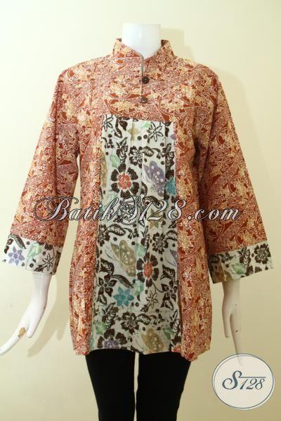 Pusat Penjualan Blus Batik Berkwalitas, Sedia Juga Baju Batik Keren Dengan Harga Terjangkau, Batik Cap Dual Motif Dengan Warna Yang Mewah, Size L