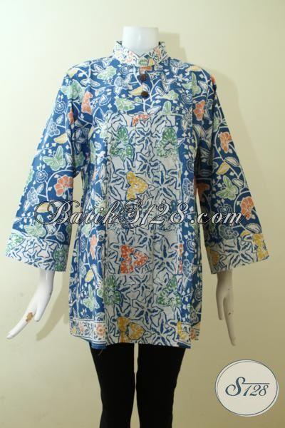 Batik Blus Motif Terbaik Untuk Cewek Tampil Cantik, Baju Batik Modern Dua Motif Proses Cap Produksi Surakarta, Size XXL