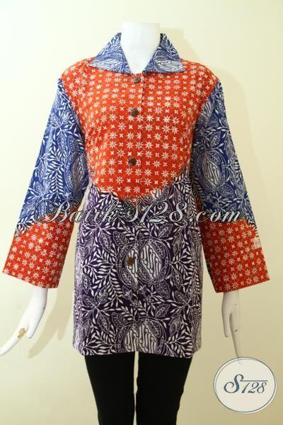 Busana Batik Solo Paling Keren Saat Ini Untuk Cewek Modern Dan Gaul, Pakaian Batik Motif Unik Warna Orange Kombinasi Biru Desain Mewah [BLS2561C-XL]