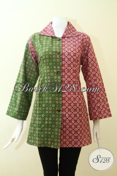 Pakaian Batik Cewek Keren Dengan Dua Motif, Blus Batik Masa Kini Dua Warna Hijau Dan Merah Jambu Proses Cap Tulis, Size L