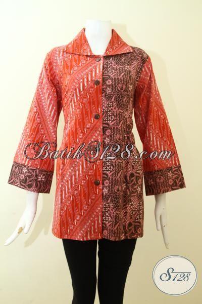 Baju Batik Blus Desain Mewah Warna Cerah, Busana Batik Dual Motif Trend 2015, Batik Kerja Model Formal Proses Cap Tulis Motif Klasik, Size L