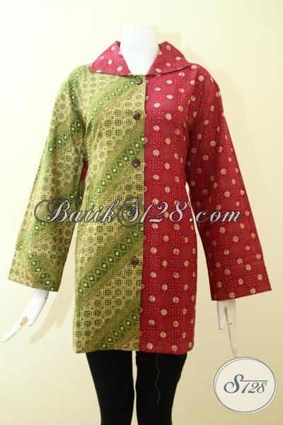 Batik Blus Lengan Panjang Keren Perpaduan Warna Merah Dan Hijau Muda, Batik Kerja Perempuan Kantoran Desain Mewah Tampil Rapi Dan Feminim [BLS2570CT-XXL]