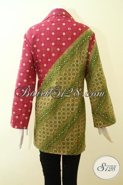 Blus Batik Merah Kombinasi Hijau, Batik Seragam Kerja Kombinasi Dua Motif Proses Cap Tulis, Pakaian Kwalitas Premium Modis Berkelas, Size XXL