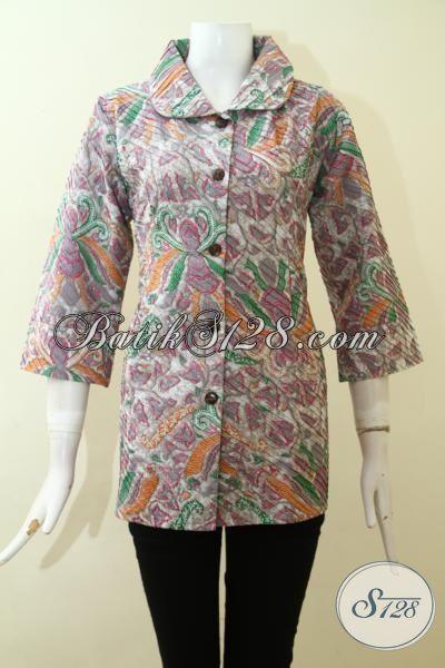 Trend Busana Batik Wanita Paling Keren Saat Ini, Blus Batik Opnesel Kwalitas Halus Proses Print Mewah Dengan Daleman Furing Tricot [BLS2582POF-M]