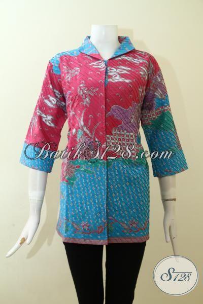Jual Blus Batik Solo model Opnesel Dengan Kombinasi Warna Keren Dan Trendy, Baju Batik Halus Kwalitas Premium Dilengkap Full Furing Wanita Tampil Lebih Mewah [BLS2586POF-XL]