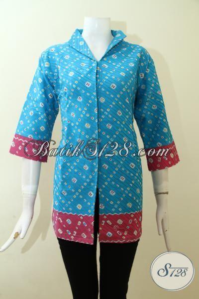 Sedia Online Pakaian Batik Kerja Untuk Cewek, Blus Batik Print Opnesel Trend Baju Wanita Masa Kini Untuk Tampil Lebih Trendy Dan Mewah, Size XL