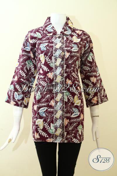 Blus Batik Trendy Berkelas, Batik Kerja Mewah Dengan Daleman Full Furing, Batik Blus Cap Tulis Motif Klasik Buatan Solo, Size M