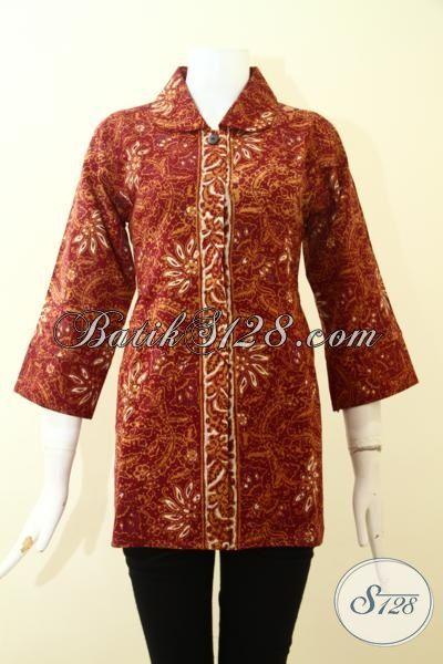 Pedagang Baju Batik Online Jual Blus Batik Halus Berbahan Dolbi, Baju Batik Cap Tulis Full Furing Motif Klasik Cocok Untuk Ke Kantor, Size M