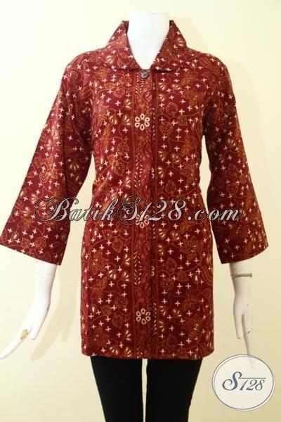 Baju Batik Seragam Kerja Halus, Blus Batik Berbahan Dobi Adem, Batik Jawa Cap Tulis Full Furing Pas Juga Untuk Ke Pesta, Size XL