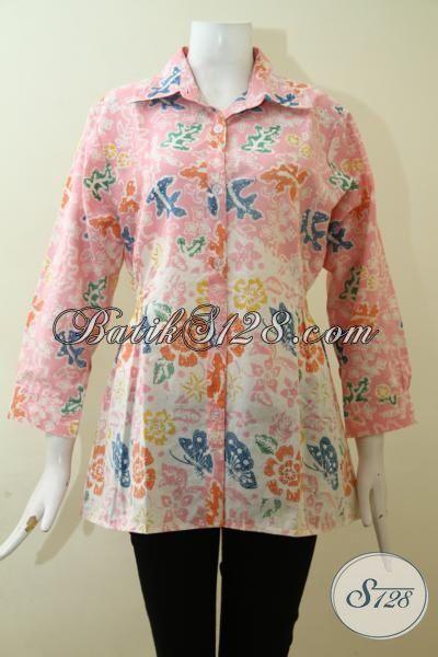 Baju Batik Keren Teman Fashion Wanita Muda, Pakaian Batik Cantik Proses Cap Warna Pastel Sangat Feminim Cocok untuk Hangouts, Size S